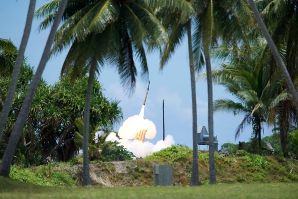 THAAD interceptor is launched from the Reagan Test Site, Kwajalein Atoll in the Republic of the Marshall Islands, during Flight Test THAAD-23, August 30, 2019. (Photo courtesy of the Missile Defense Agency)