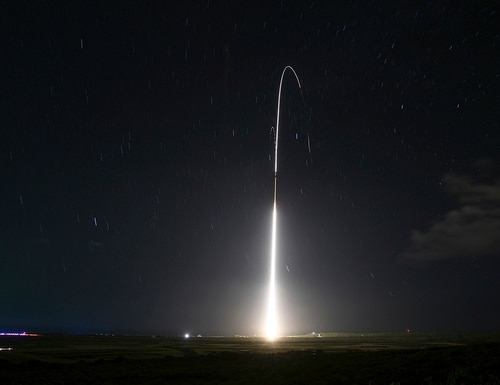 This Dec. 10, 2018, file photo, shows the launch of the U.S. military's land-based Aegis missile defense testing system, that later intercepted an intermediate range ballistic missile, from the Pacific Missile Range Facility on the island of Kauai in Hawaii. (Mark Wright/Missile Defense Agency via AP)