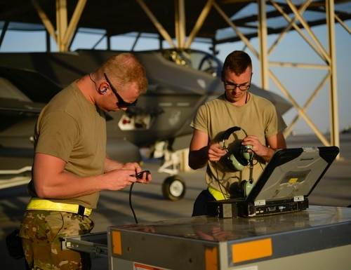 U.S. Airmen from the 380th Expeditionary Aircraft Maintenance Squadron prepare to launch an F-35A Lightning II assigned to the 4th Expeditionary Fighter Squadron at Al Dhafra Air Base, United Arab Emirates, April 24, 2019. F-35 maintainers use the Autonomic Logistics Information System to monitor the health of the joint strike fighter. (Staff Sgt. Chris Drzazgowski/U.S. Air Force)