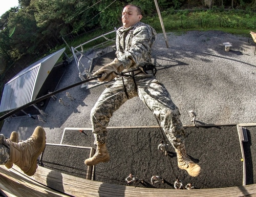 A chaplain candidate in a leaders course rappels during certification on Victory Tower as part of two weeks of annual training on Fort Jackson, S.C., May 29, 2015. U.S. Army photo by Sgt. 1st Class Brian Hamilton