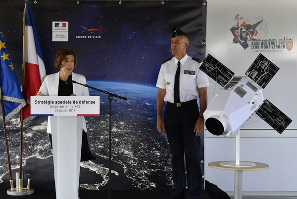French Armed Forces Minister Florence Parly, left, delivers a speech next to Air Force Gen. Philippe Lavigne to present a new strategy for defense activity in space on July 25, 2019. (Philippe Desmazes/AFP via Getty Images)