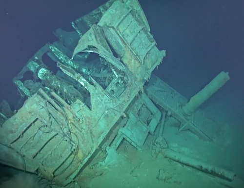 Imagery of the USS Johnston previously taken by the RV Petrel. (Screengrab, RV Petrel)