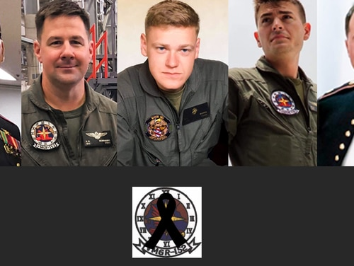From left: Staff Sgt. Maximo Alexander Flores, 27, Lt. Col. Kevin R. Herrmann, 38, Cpl. Daniel E. Baker, 21, Cpl. William C. Ross, 21, and Maj. James M. Brophy, 36, were killed when their KC-130J collided with an F/A-18 on Dec. 6, 2018.