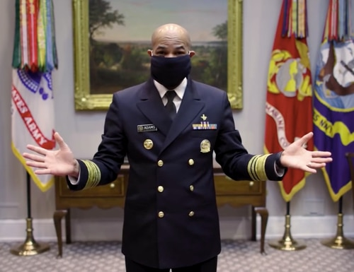 The surgeon general, Dr. Jerome Adams, shares ways to create your own face covering in a few easy steps. (DoD)
