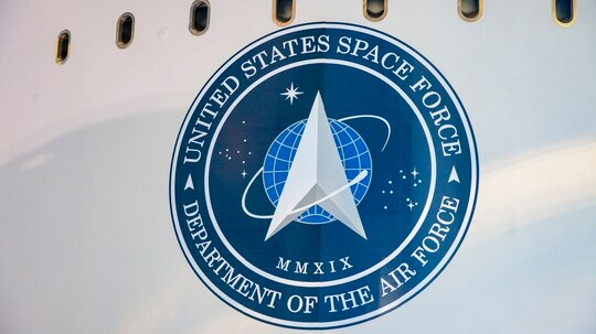 The logo of the United States Space Force is seen on the side of United Launch Alliance's (ULA's) Atlas V rocket during the roll from the Vertical Integration Facility (VIF) to the launch pad at Space Launch Complex-41 at Cape Canaveral Air Force Station, Florida. Photo credit: United Launch Alliance