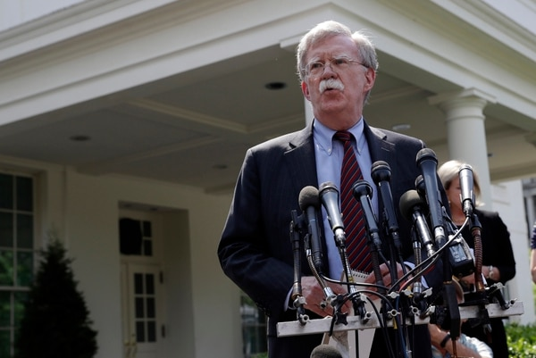 National security adviser John Bolton speaks about Venezuela outside the West Wing of the White House, Tuesday, April 30, 2019, in Washington. (Evan Vucci/AP)