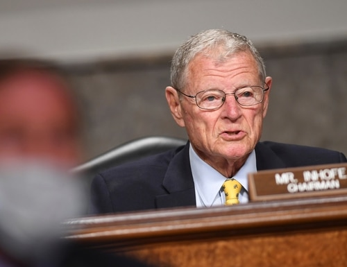 Sen. Jim Inhofe, R-Okla., cast a recent hearing on nuclear weapons as an existential one for the National Nuclear Security Administration. (Kevin Dietsch/AFP via Getty Images)