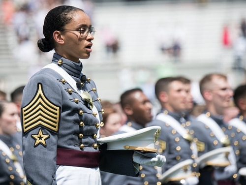 U.S. Military Academy Cadet First Capt. and Brigade Commander Simone Askew sings the Alma Mater during the graduation ceremony May 26. Askew was named one of Glamour Magazine's top 10 College Women of the Year on June 4. (Sgt. James K. McCann/Army)