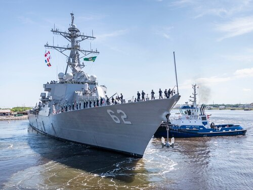 The repaired and modernized U.S. warship Fitzgerald departed Huntington Ingalls Industries, Ingalls Shipbuilding division's Mississippi shipyard on June 13, 2020, en route for its new home port of San Diego. (Navy)