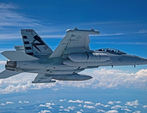 The Next Generation Jammer Mid-Band flies for the first time on an EA-18G Growler on Aug. 7, 2020, over Naval Air Station Patuxent River, Md. (Erik Hildebrandt/U.S. Navy)
