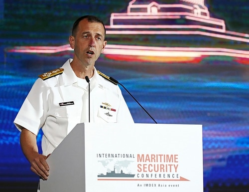 U.S. Chief of Naval Operations Adm. John Richardson delivers closing remarks May 15, 2019, during the International Maritime Security Conference on the sidelines of the International Maritime Defense Exhibition in Singapore. (Yong Teck Lim/AP)