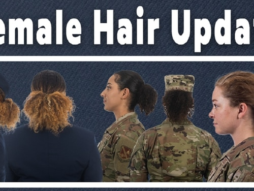 The Air Force is revising Air Force Instruction 36-2903 to address differences in hair density and texture, effective June 25. (Air Force graphic)