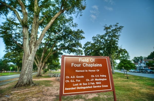 The Field of Four Chaplains on Fort Benning, Ga., is named in honor of the four Army chaplains who lost their lives during the sinking of the U.S. Army Transport Dorchester in 1943. (John D. Helms/Army)