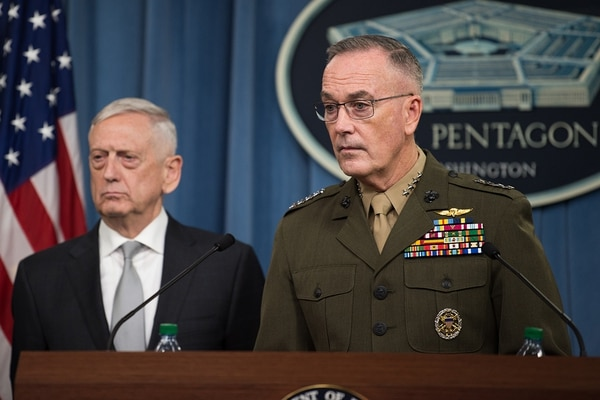 Defense Secretary Jim Mattis and Marine Gen. Joseph Dunford, the chairman of the Joint Chiefs of Staff, brief reporters at the Pentagon on April 13. The men are preparing to meet with their counterparts in India to discuss an array of national security issues. (Sgt. Amber I. Smith/Army)