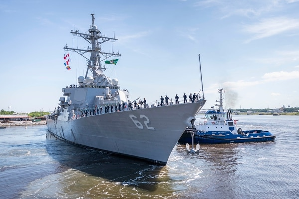 The repaired and modernized U.S. warship Fitzgerald departed a Huntington Ingalls Industries shipyard on June 13, 2020, on its way to its new home port of San Diego, Calif. (U.S. Navy)