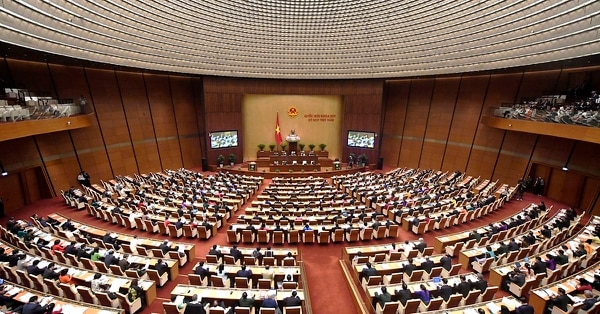 Vietnam's parliament, the National Assembly, opens its summer session in Hanoi on May 21, 2018. - Lawmakers are set to review socio-economic progress for 2017 and the first four months of 2018, anti-corruption measures and pass a cybersecurity bill that could toughen online policing, including against dissidents. (Photo by Nhac NGUYEN / AFP) (Photo credit should read NHAC NGUYEN/AFP/Getty Images)