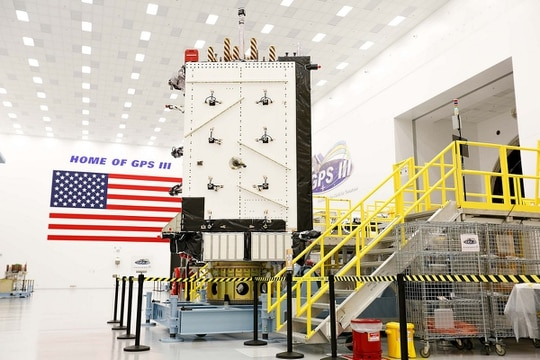 GPS III Space Vehicle 01 (GPS III SV01) at Lockheed Martin's GPS III Processing Facility. Raytheon is developing the ground stations for the new GPS satellites under the Operational Control Segment (OCX) program. (Lockheed Martin)