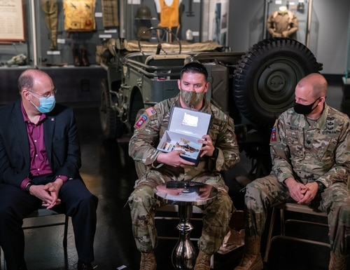On Tuesday, the 82nd Airborne Division held an unboxing event for postcards sent from the residents of Sainte-Mere-Eglise, France in lieu of the in-person commemorative traditions interrupted by the COVID-19 pandemic. (Maj. Lloyd E. Bedford III/Army)