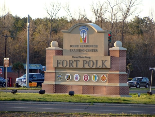 This Feb. 22, 2012, photo, shows the entrance of the Fort Polk Joint Readiness Training Center in Fort Pork, La. (AP Photo/Lolita Baldor)