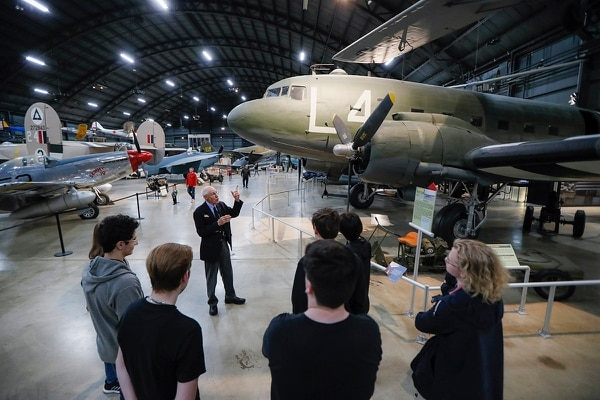 In this Friday, April 26, 2019, photo, visitors browse the D-Day displays at the The National Museum of the U.S. Air Force, in Dayton, Ohio. (John Minchillo/AP)