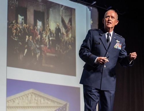 Maj. Gen. Donald Dunbar, the adjutant general of the Wisconsin National Guard, and chairman of the National Guard Association of the United States, addresses conference attendees, Aug. 31, 2019, in Denver. (Spc. Michael Hunnisett/Army National Guard)