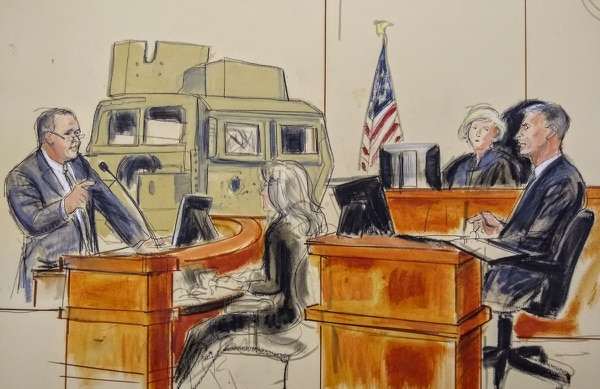 Lead attorney Gary Osen questions retired Army Lt. Gen. Michael Oates. The three-star led units on multiple tours in Iraq and later served as director of the organization focused on defeating the Improvised Explosive Device threat. (Elizabeth Williams/Courtesy of Osen Law Firm)