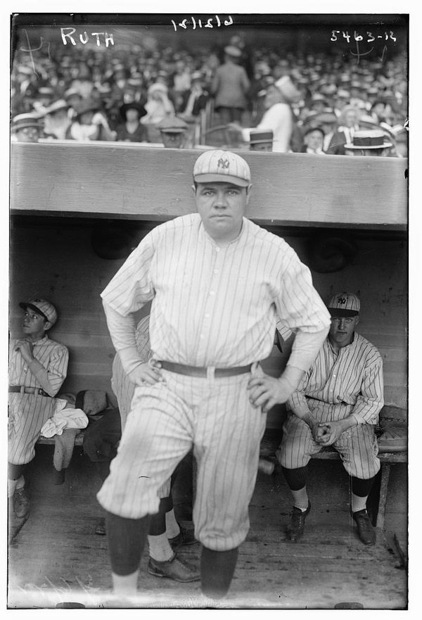 Babe Ruth in 1921, when he hit .377 and clubbed 59 home runs as an outfielder for the New York Yankees. (Bain News Service, now in the Library of Congress)