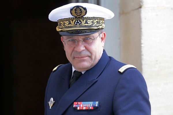 In this July 21, 2017, photo, Chief of French Navy Adm. Christophe Prazuck arrives at Matignon for a meeting in Paris, France. (Michel Euler/AP)
