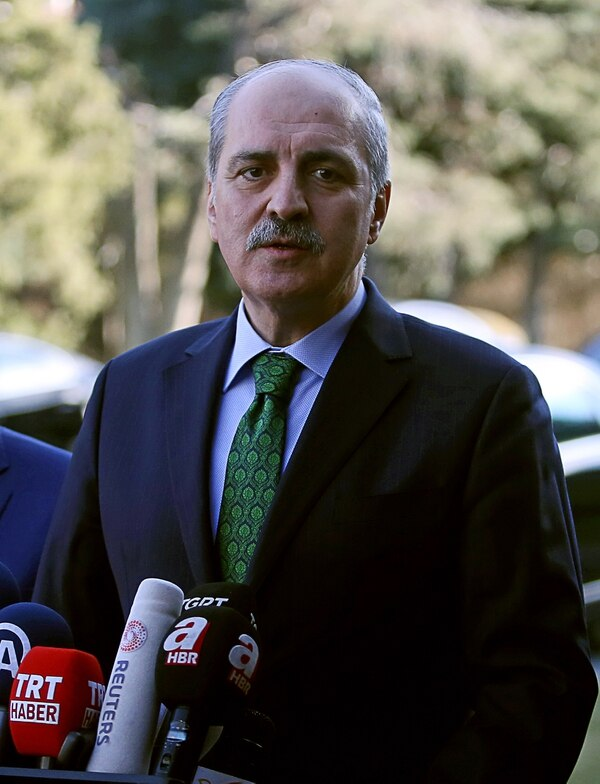 Turkish Deputy Prime Minister Numan Kurtulmus gives a statement after a security meeting at the Cankaya Palace in Ankara on January 12, 2016, following a suicide bomb attack in Istanbul's busiest tourist district which killed 10 and wounded 15. Most of the 10 people killed in the suicide bombing in Istanbul are foreigners, Kurtulmus said. He also said the bomber had been identified as a Syrian national born in 1988. / AFP / ADEM ALTAN (Photo credit should read ADEM ALTAN/AFP/Getty Images)