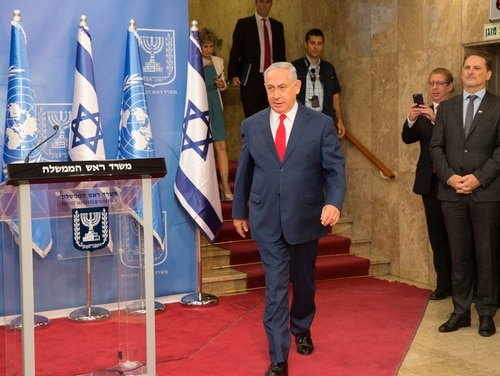 Israeli Prime Minister Benjamin Netanyahu arrives for a news conference with the U.N. secretary general at his office in Jerusalem on Aug. 28, 2017. U.N. Secretary-General Antonio Guterres met with Israeli officials as part of a three-day visit to the Jewish state and the Palestinian territories. (Heidi Levine/AFP via Getty Images)