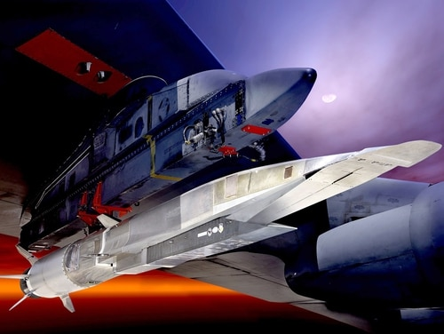 The Air Force is working with Lockheed Martin to design a new hypersonic prototype. The service previously explored the technology with tests of the X-51A Waverider, shown here under the wing of a B-52 bomber. (U.S. Air Force graphic)