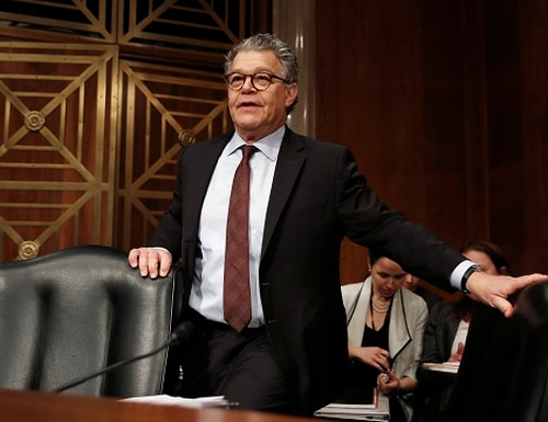 In this Nov. 29, 2017, photo, Sen. Al Franken, D-Minn., arrives at a Senate Health, Education, Labor and Pensions Committee hearing on Capitol Hill in Washington. An Army veteran has accused Franken of inappropriately touching her more than a decade ago while she was on a military deployment to Kuwait. (AP Photo/Carolyn Kaster)