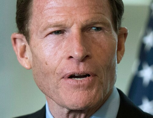 FILE - In this April 7, 2016 file photo, Sen. Richard Blumenthal, D-Conn., speaks to members of media on Capitol Hill in Washington. State Rep. Dan Carter, R-Bethel, Blumenthal's Republican challenger in the 2016 Senate race, is reviving a six-year-old controversy about whether the Democrat intentionally distorted his Vietnam-era military service. (AP Photo/Sait Serkan Gurbuz, File)