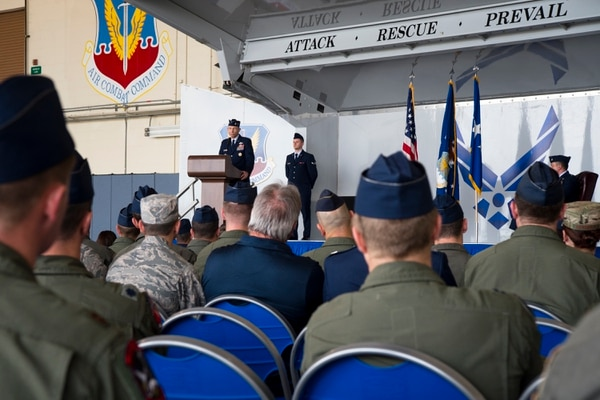Gen. Mike Holmes, Air Combat Command commander, speaks at the Gallant Unit Citation presentation, March 14 at Moody Air Force Base, Ga. (A1C Taryn Butler/Air Force)