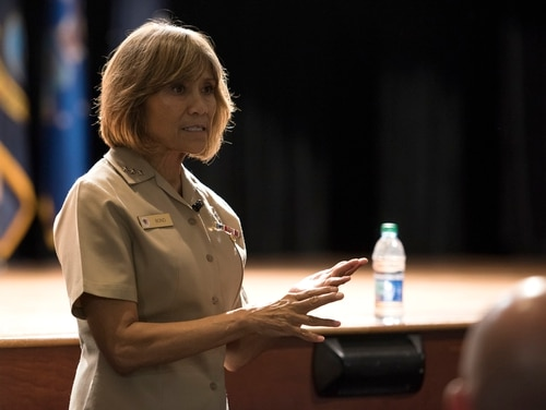 Navy Vice Adm. Raquel Bono, Defense Health Agency director, answers questions during a town hall meeting July 30, 2018, at Joint Base Charleston in South Carolina. (Airman 1st Class Helena Owens/Air Force)