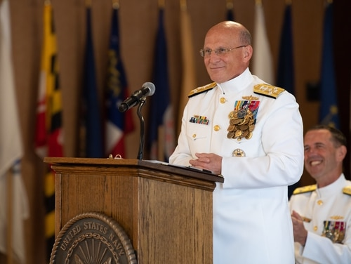 Chief of Naval Operations Adm. Mike Gilday delivers his first remarks as the 32nd CNO during an Aug. 22 change of office ceremony held at the Washington Navy Yard. (Mass Communication Specialist 2nd Class Ryan Kledzik/Navy)
