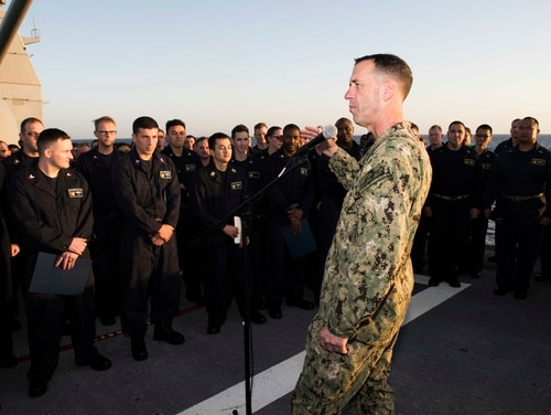 Chief of Naval Operations Adm. John Richardson said Thursday that while the Navy will face rival maritime forces in the future, it will not be a repeat of the Cold War. He is shown here speaking with sailors during a visit aboard the cruiser Bunker Hill in December. (Navy photo by MC3 Rachael Treon)