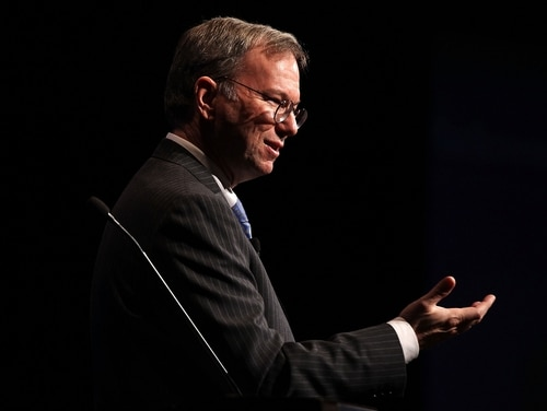 Eric Schmidt, CEO of Google parent company Alphabet, says China is eroding the U.S. artificial intelligence edge. (Alex Wong/Getty Images)