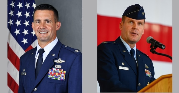 Col. Charles Velino, left, commander of the 47th Flying Training Wing at Laughlin Air Force Base, Texas, was relieved for