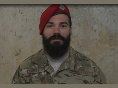 Staff Sgt. Cole Condiff, a combat controller with the 24th Special Operations Wing, sent a video message to his family that was played at Major League Baseball's All-Star Game in Washington, D.C., in July 2018. Condiff then surprised his wife and daughter at the game. Condiff was lost after what the Air Force described as an unplanned parachute departure out of a C-130 Tuesday during a training mission. (Air Force via MLB)