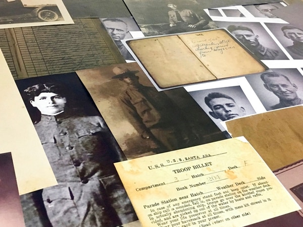 In this May 2, 2018, photo, the Brazos County World War I Centennial Committee hopes to collect photographs, records, images of artifacts and stories of locally connected World War I vets while the surviving progeny still retain these memories of their ancestors in College Station, Texas. (Rebecca Fielder/College Station Eagle via AP)