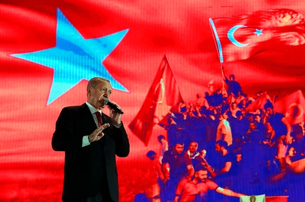 In this file photo dated July 15, 2019, Turkey's President Recep Tayyip Erdogan delivers a speech at a rally to honor the victims of the July 15, 2016, failed coup attempt, in Istanbul. (Lefteris Pitarakis/AP)