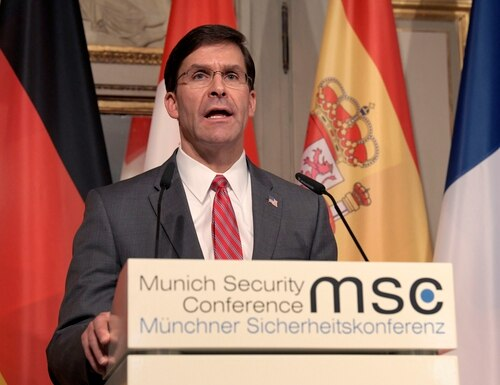 U.S. Secretary for Defense Mark Esper speaks during a press conference on the first day of the Munich Security Conference in Munich, Germany, Friday, Feb. 14, 2020. (AP Photo/Jens Meyer)