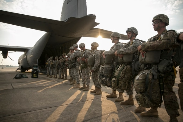 Paratroopers from the 82nd Airborne Division prepare to board a C-130J for a proficiency jump into the Sicily Drop Zone at Fort Bragg in Fayetteville, N.C., on Saturday, August 15, 2015.