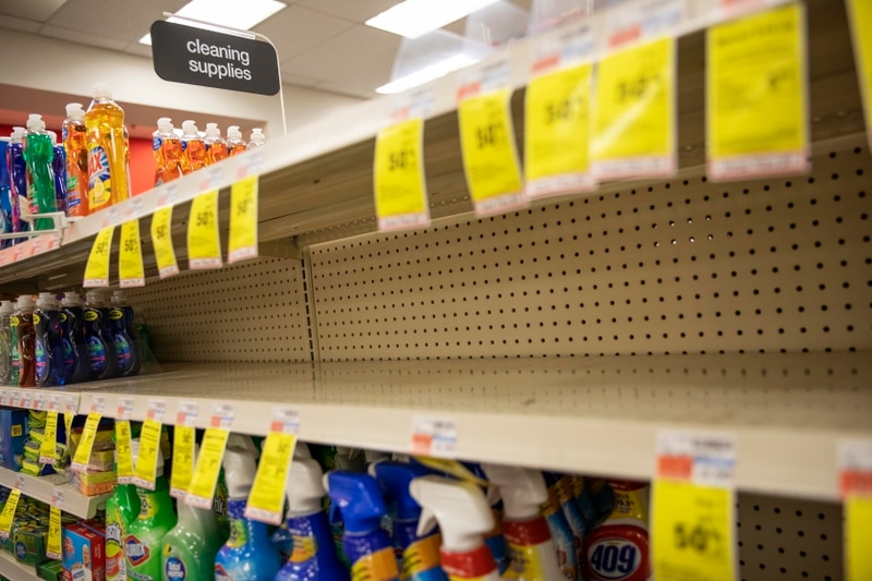 Shelves where disinfectant wipes and sprays are usually displayed sit empty in a pharmacy in Providence, R.I., on March 4 as confirmed cases of the coronavirus rise in the U.S. (David Goldman/AP)