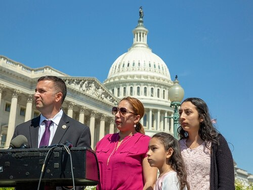 Rep. Darren Soto, D-Fla., speaks on Capitol Hill about the Protect Patriot Spouses Act with Alejandra Juarez, a military spouse who has been ordered to report for deportation, and her daughters, Estela, 8, and Pamela, 16. Alejandra's husband, former Marine Sgt. Cuauhtemoc