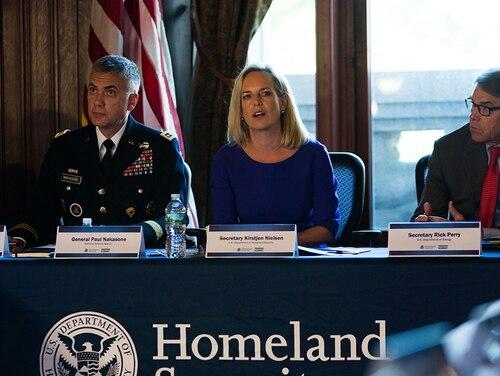 U.S. Department of Homeland Security Secretary Kirstjen Nielsen speaks during the Department of Homeland Security's Cybersecurity Summit on July 31, 2018 in New York City. Nielsen said,