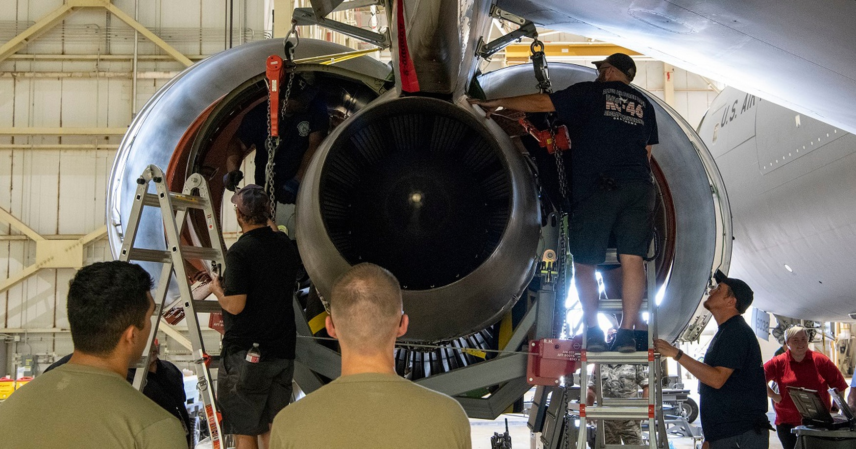 The 97th Air Mobility Wing's KC-46A maintenance team removes an engine from a Pegasus for the first time June 26 at Altus Air Force Base, Okla. Ultimately, the solution to low mission-capable rates in the Air Force is the modernization of the fleet. (Airman 1st Class Breanna Klemm/Air Force)