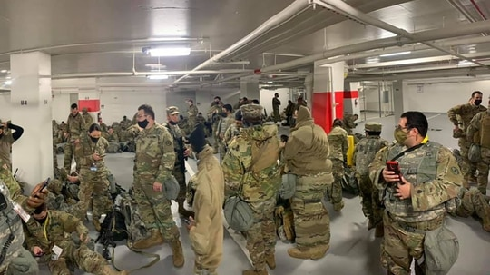 National Guard troops were forced to move out of the Senate to the Thurgood Marshall Judicial Center garage. (Photo via Facebook)