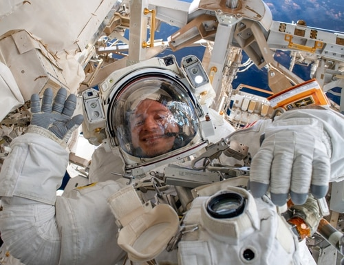Col. Drew Morgan waves as he is photographed during a spacewalk to repair the Alpha Magnetic Spectrometer, a cosmic particle detector on the International Space Station, Nov. 15, 2019. The Army is currently accepting applications from Soldiers interested in being the next astronaut. (NASA)